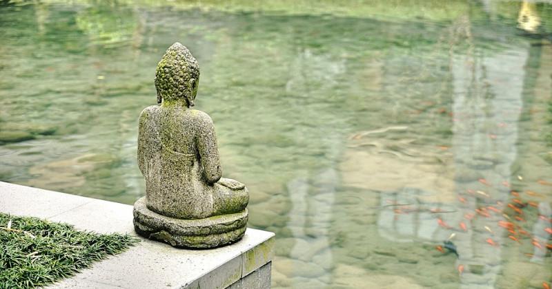 Buddha rückwärts gewandt