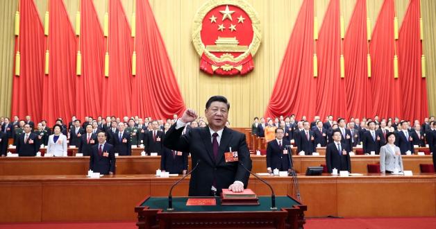 Xi Jinping hält er eine Rede bei einer Versammlung der Kommunistischen Partei