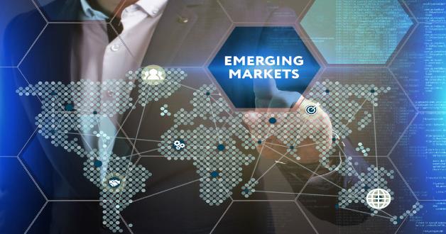 Ein Berater gibt das Symbol für Emerging Markets auf einem Bildschirm ein