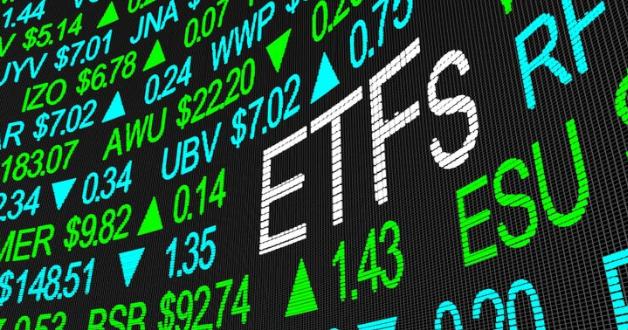 Börse-Tafel mit ETF-Schrift