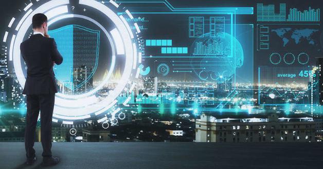 Ein Berater und supertechnologische Stadt