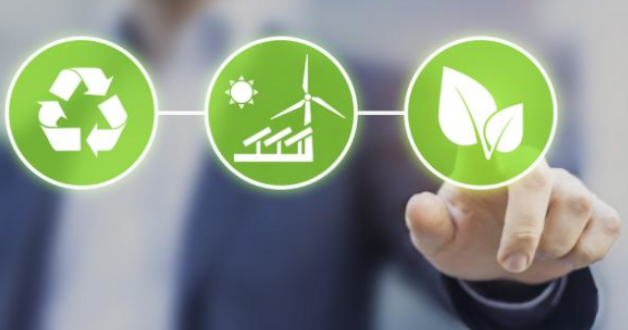 Berater drückt die Nachhaltigkeitstaste auf einem Bildschirm