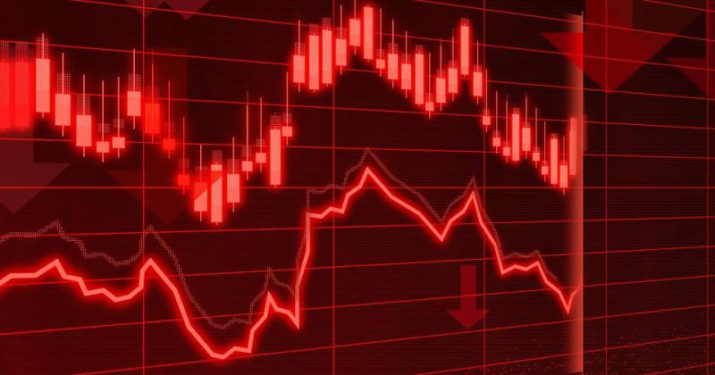 Rote Finanzdiagramme