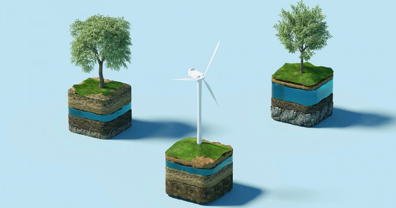 Windmühlen und Bäume